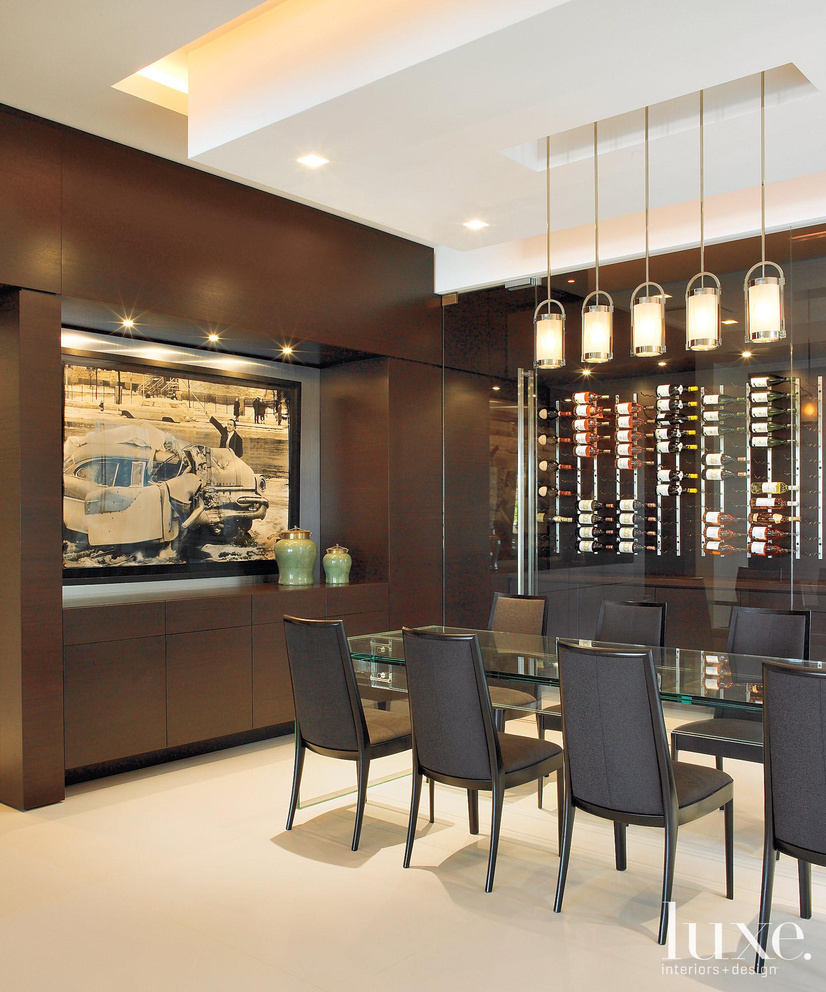 dining area with wine storage...