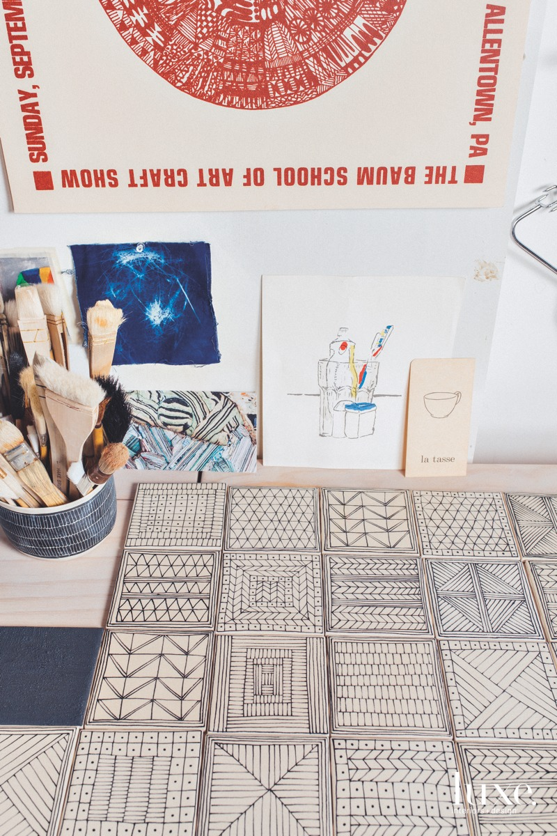 Her studio is also filled with the work of friends, family and artists she admires, including a card by Hilary Harnischfeger, a table by Jose Ambriz and a drawing by her son Sam Sullivan.