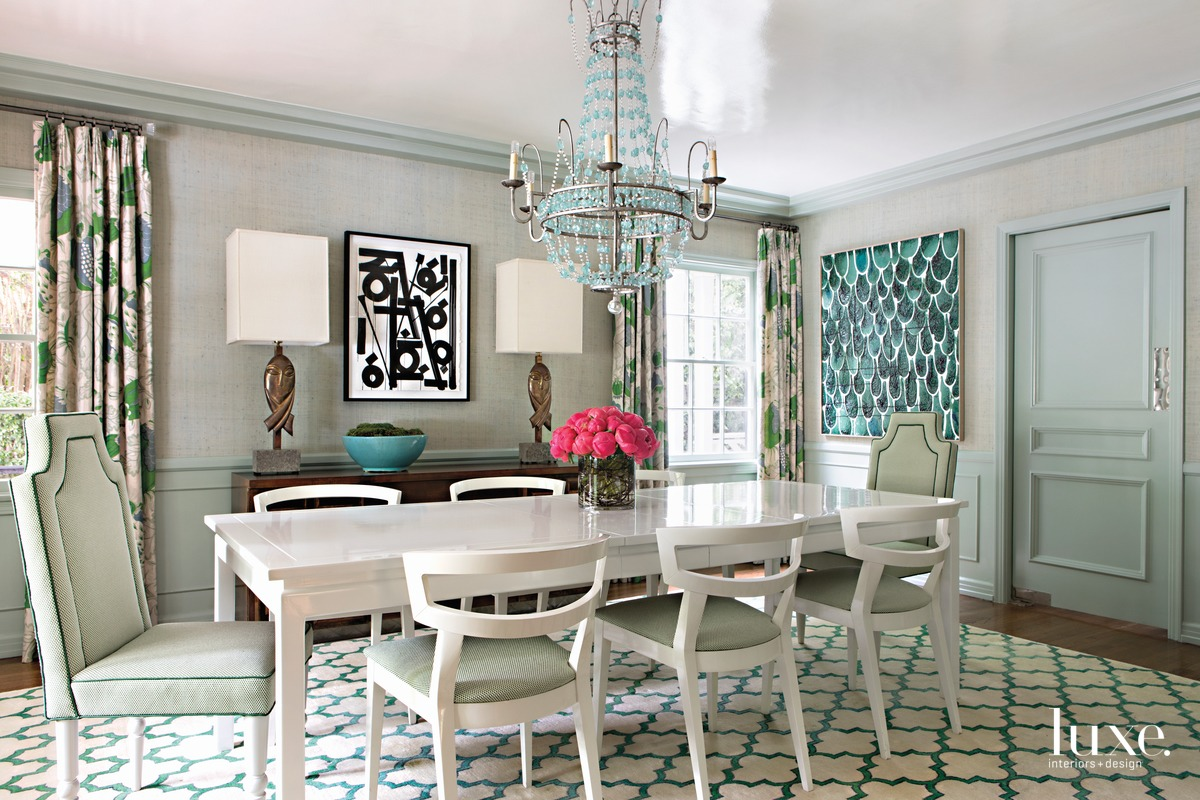 traditional dining room green and...