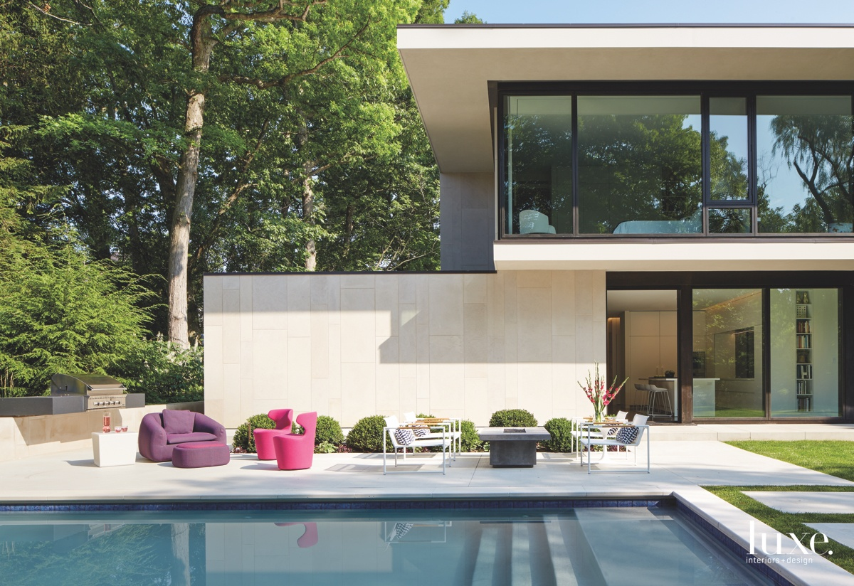 modern exterior pool pink chairs