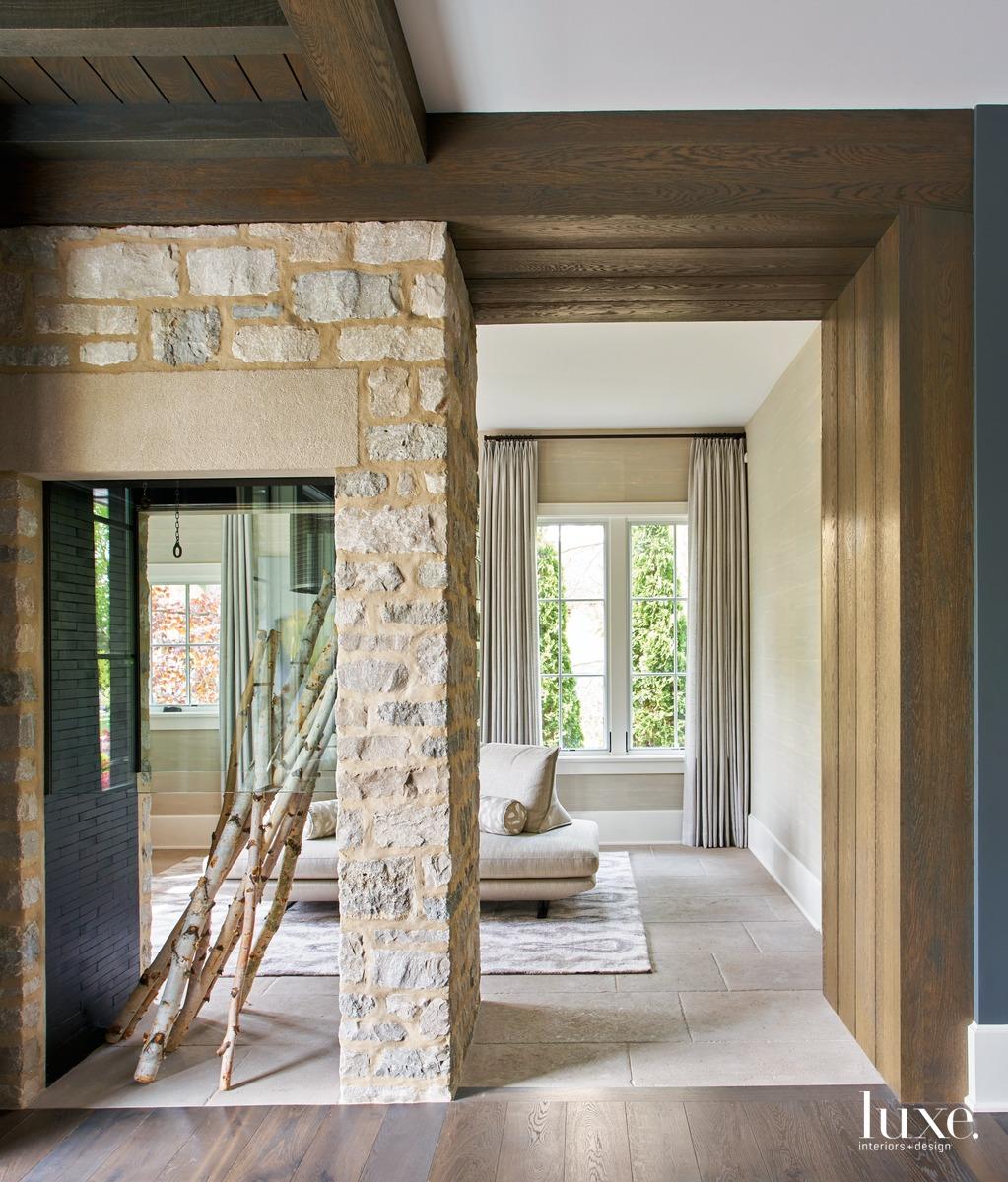 traditional foyer stone fireplace limestone...