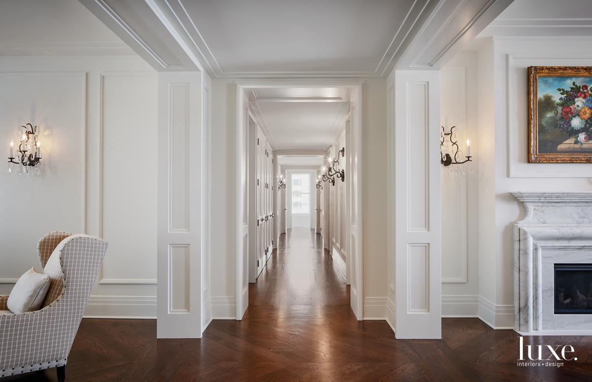 rustic white hallway