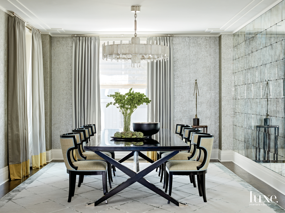 contemporary gray dining room yellow...
