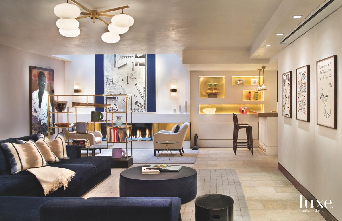 contemporary living room navy sofa