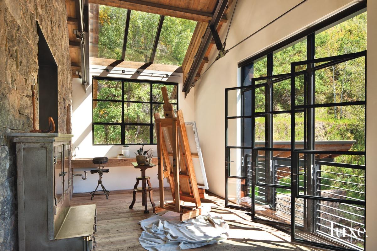 industrial art studio glass doors...