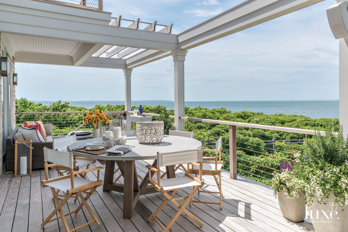 transitional outdoor sitting and dining...