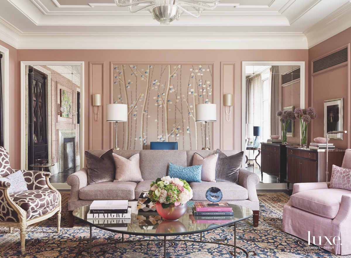 traditional living room pink hues