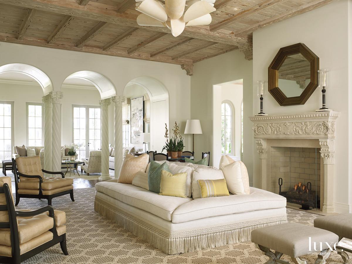 mediterranean neutral living room fireplace