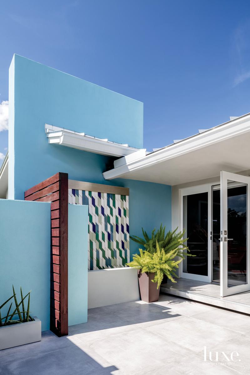 modern exterior entryway blue