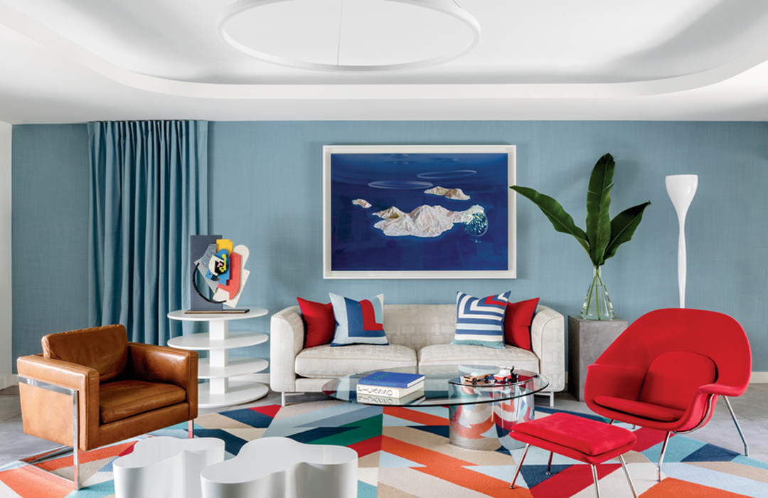 modern multicolor living room blue...