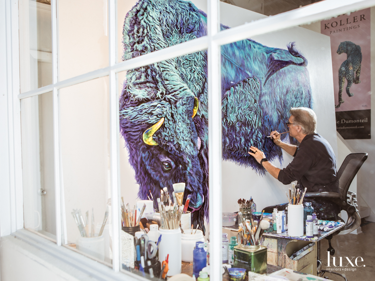 Koller creates his largest work to date, a bison on a 6.6-by-9.4-foot canvas.