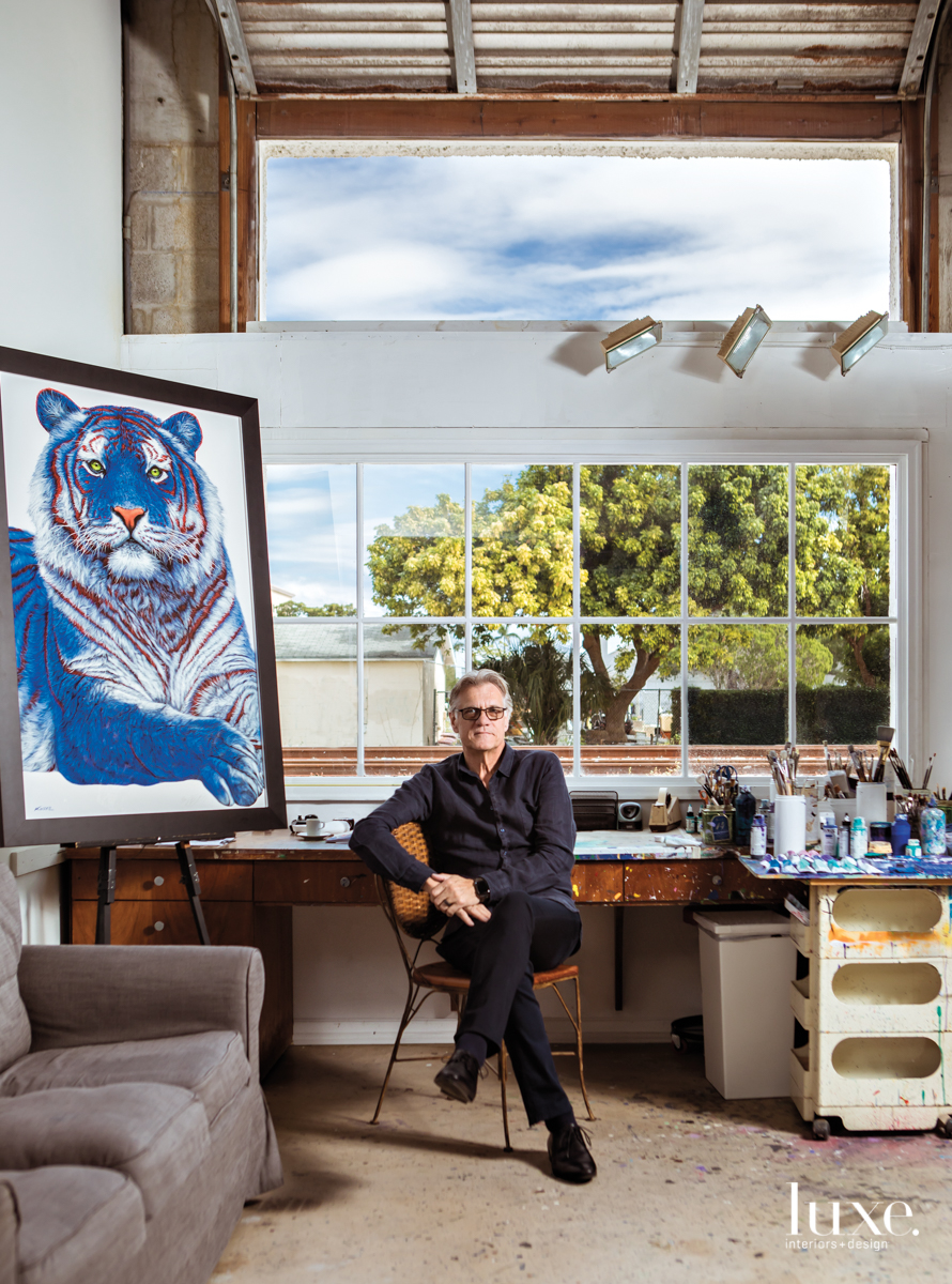 Painter Helmut Koller poses in his West Palm Beach studio.