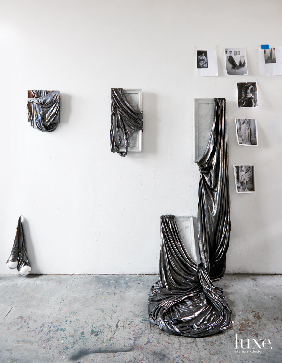 Hanging in Seiden's Brooklyn studio are her works of hardened fabric on mixed media and filled in with graphite pencil alongside inspiration shots.