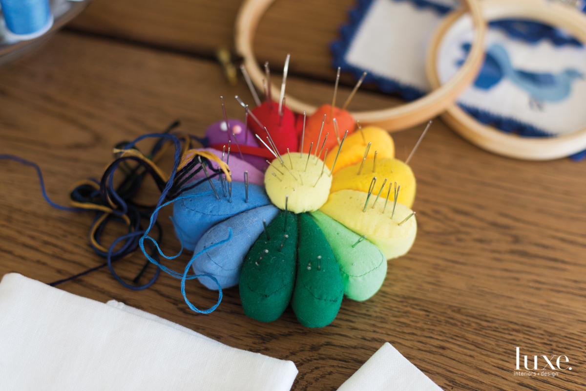 multicolored pin cushion