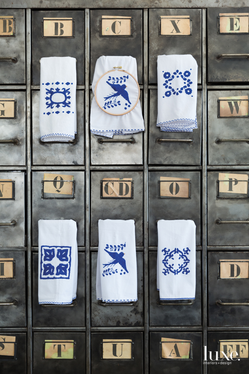 blue white embroidery towels