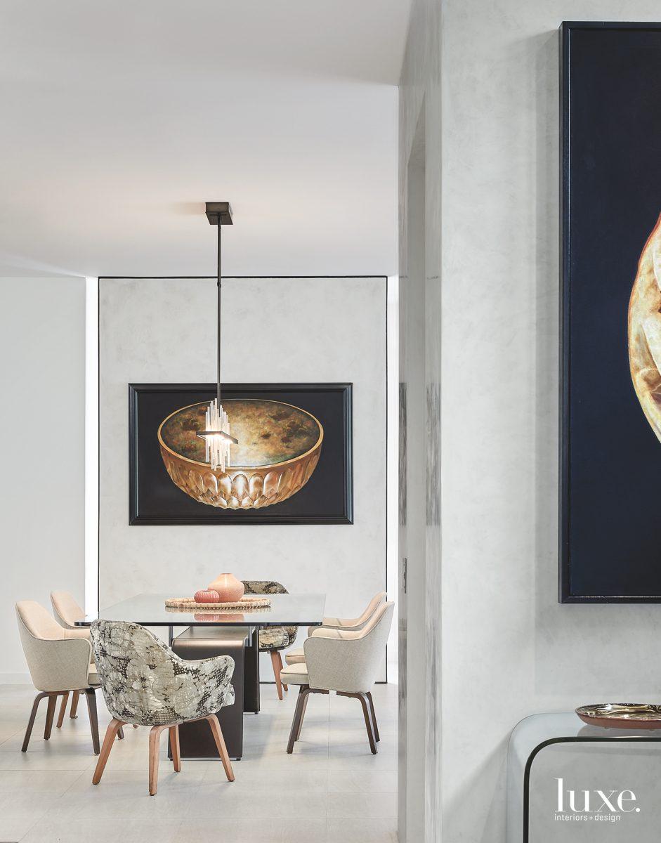 contemporary neutral dining room walnut-legged...