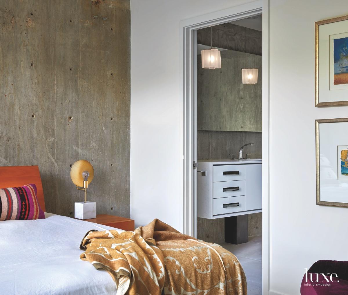 contemporary bedroom concrete wall maple...