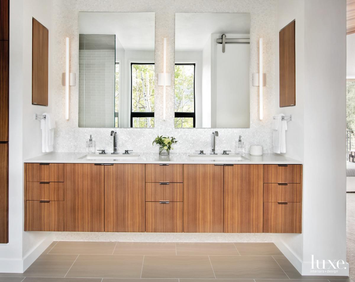 modern neutral bathroom white mosaic...