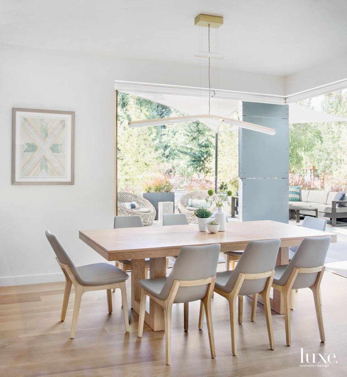 modern dining area neutral palette