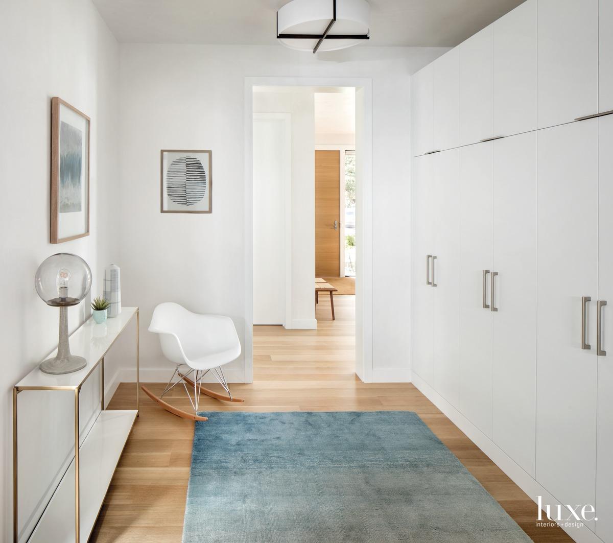 modern hallway molded-plastic rocking chair...