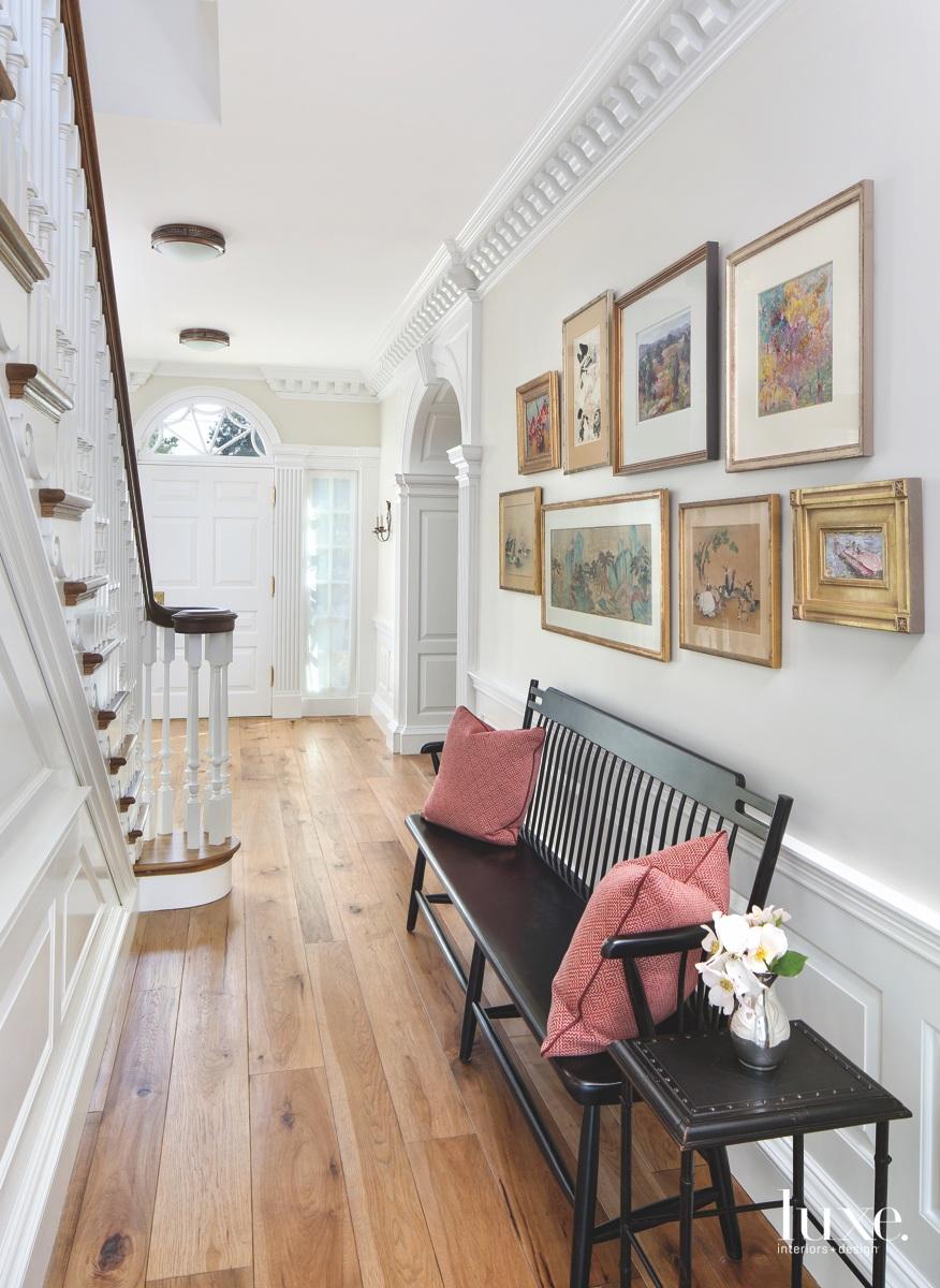 modern entry white door staircase...