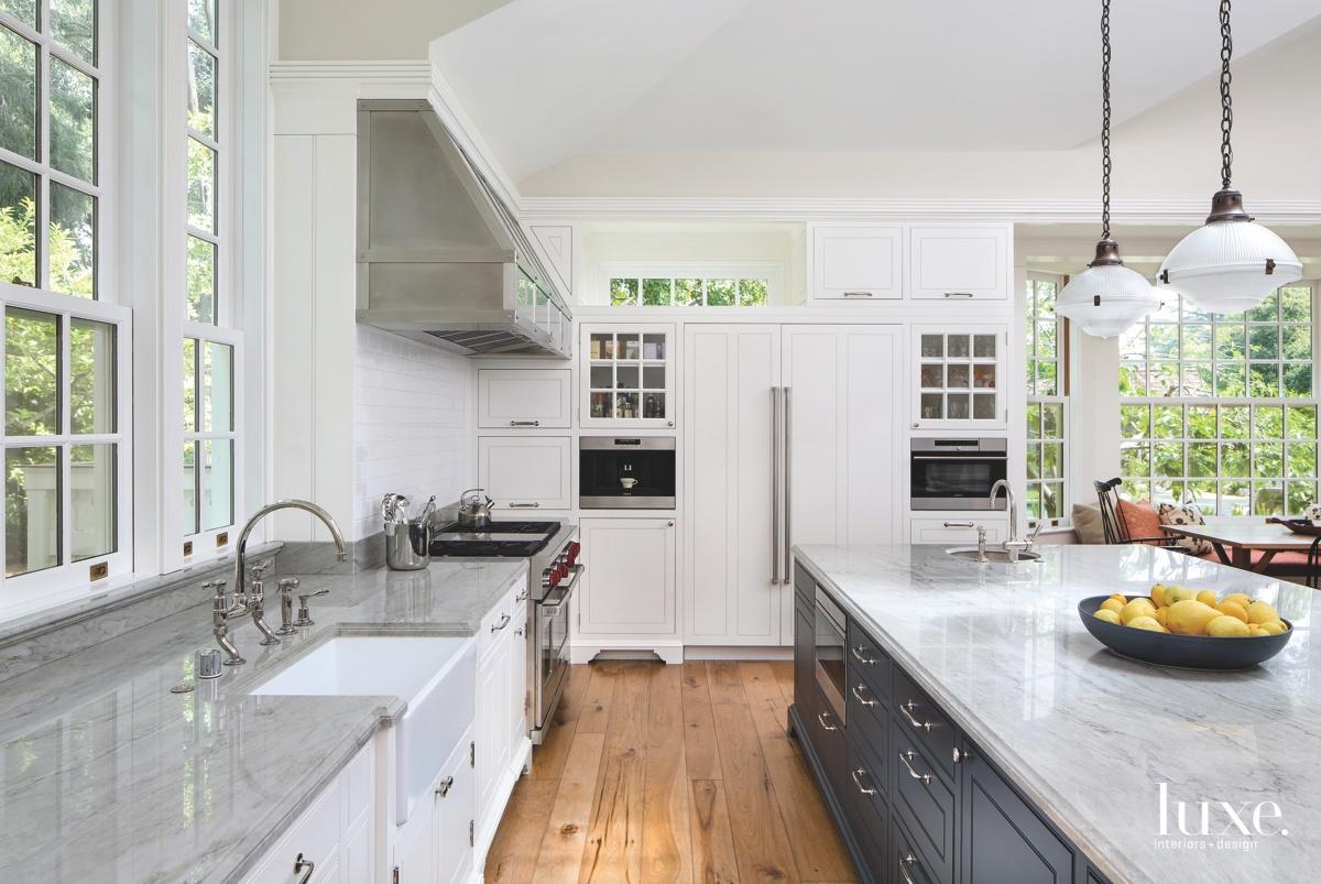 modern neutral kitchen gray marble...