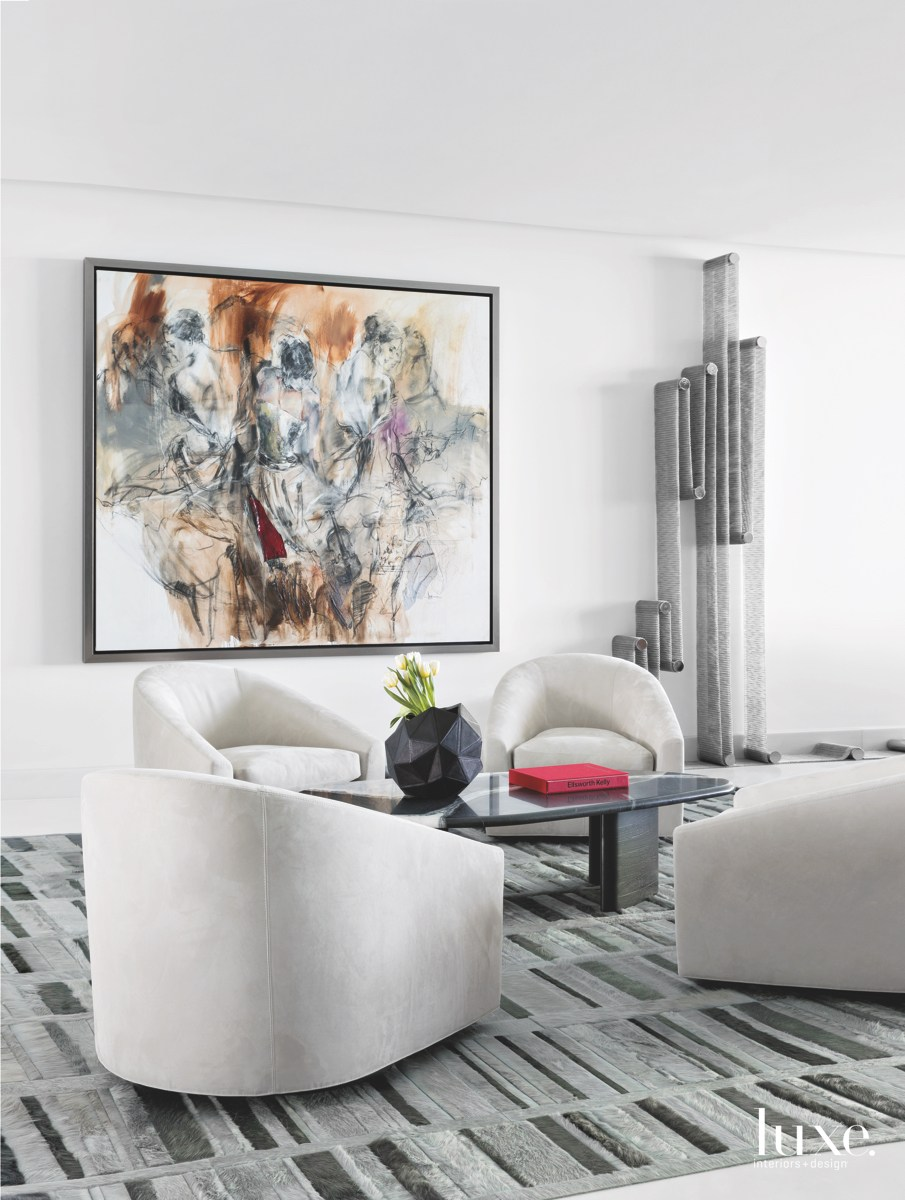 contemporary living room velvet swivel...