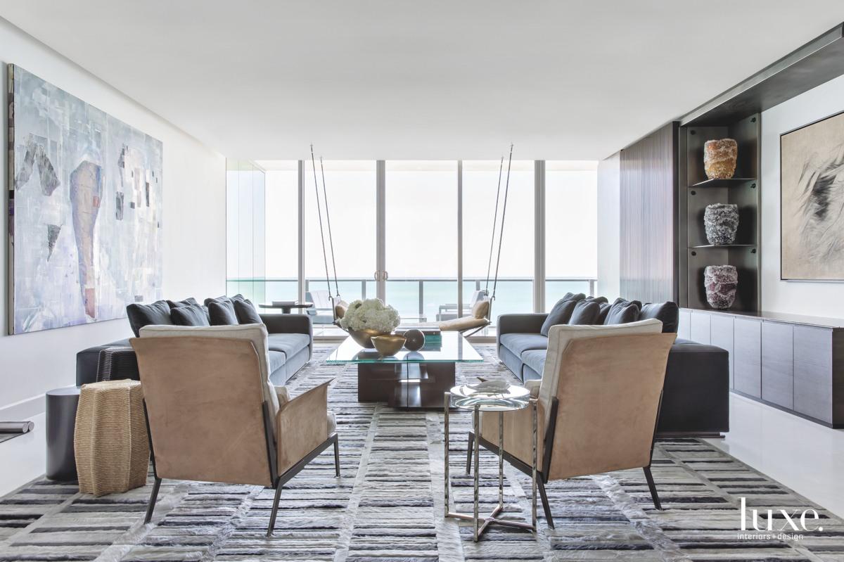 contemporary living room velvet sofas...