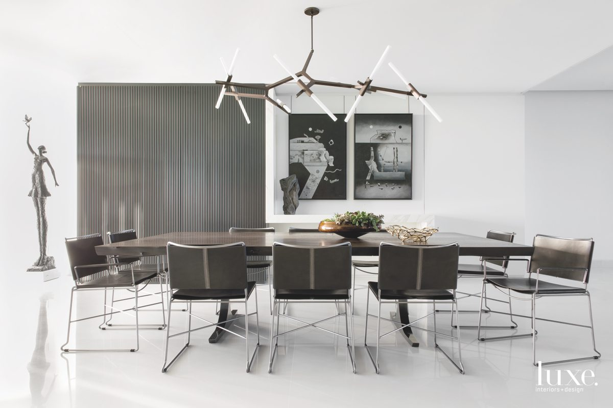 contemporary dining area white walls...