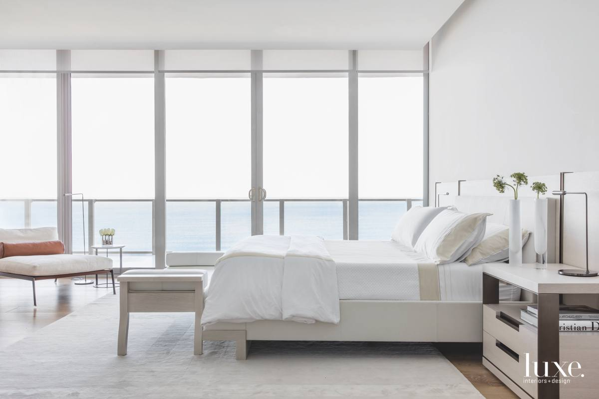contemporary white bedroom sliding glass...
