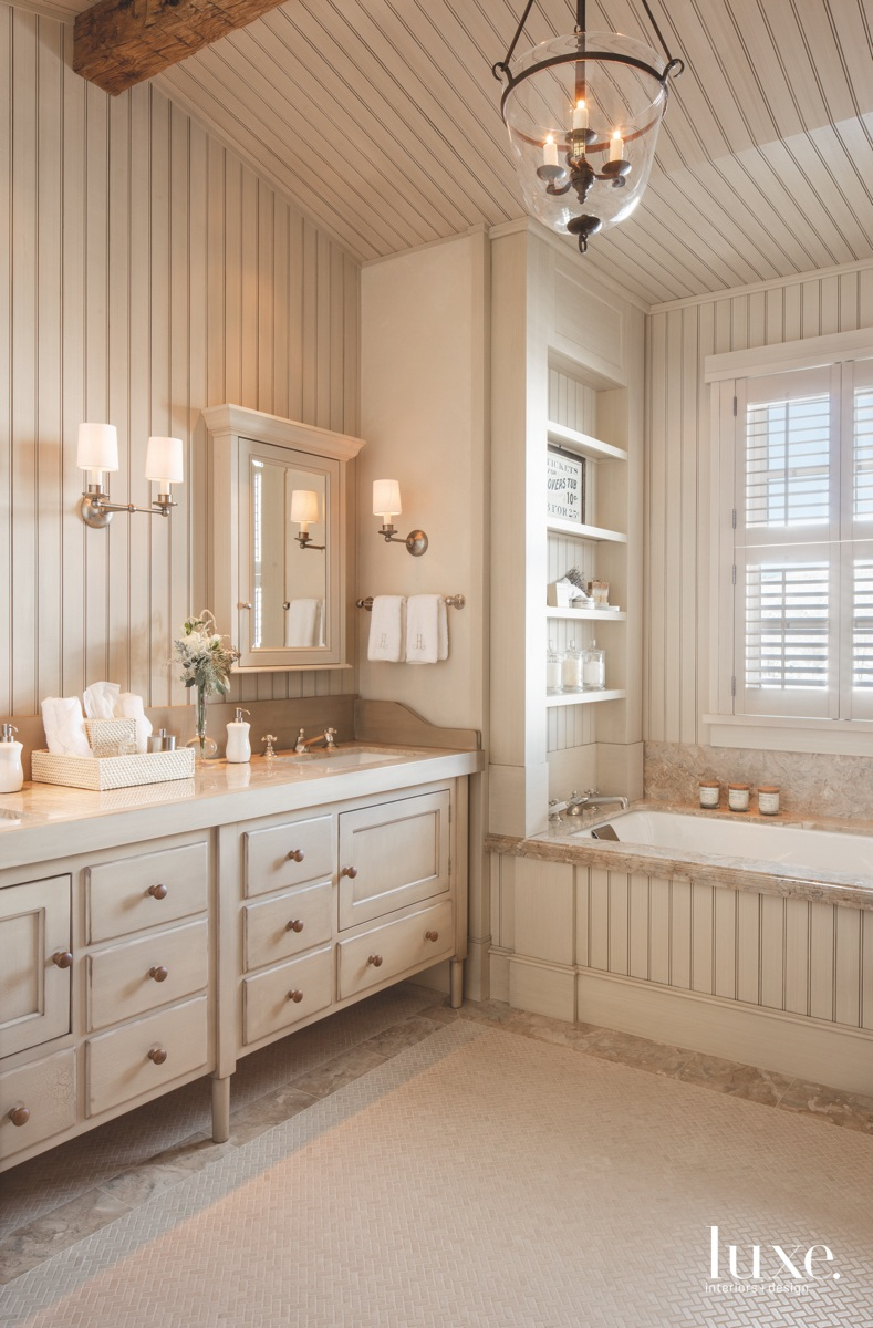 country bathroom beige cabinetry