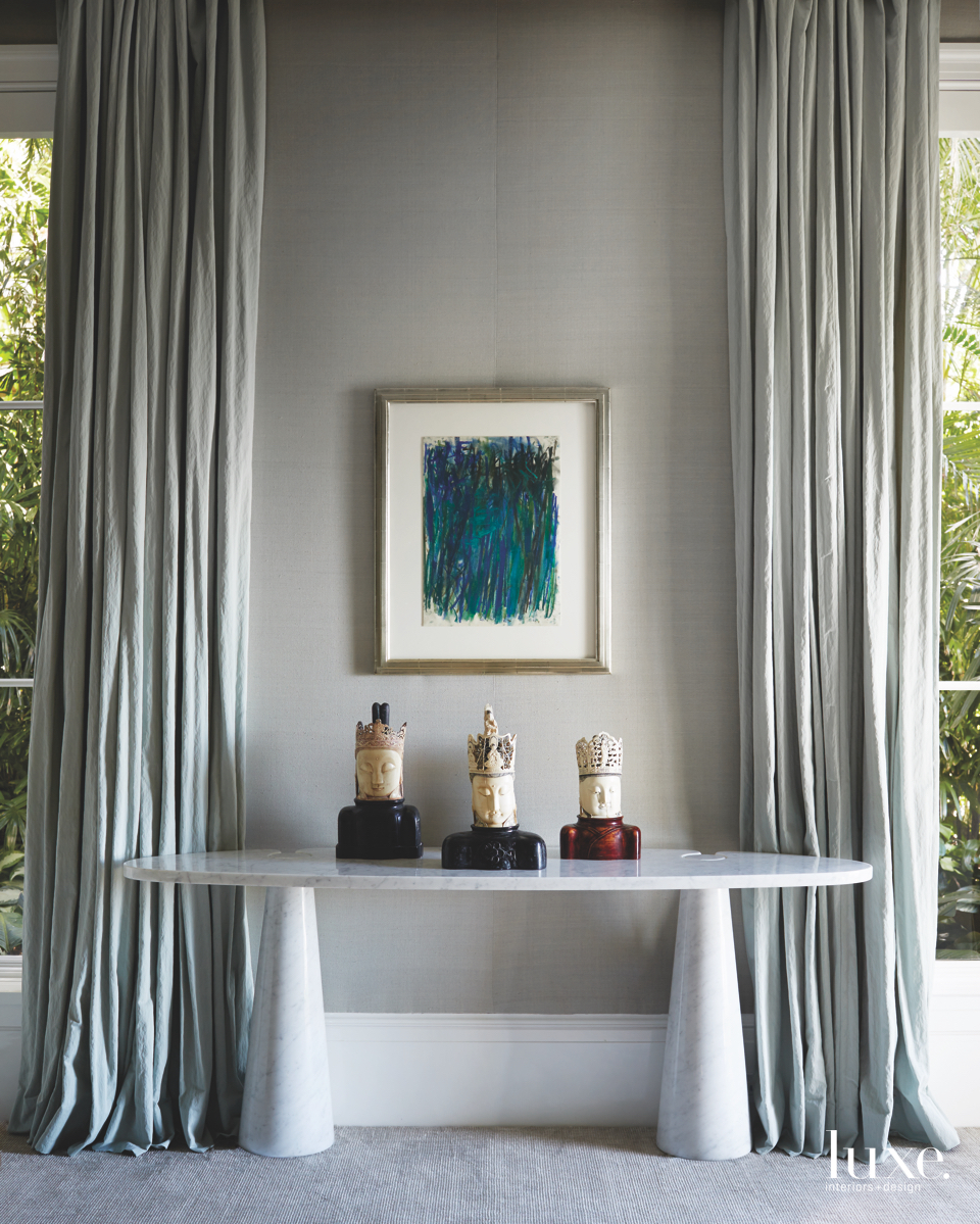 contemporary bedroom gray marble console...