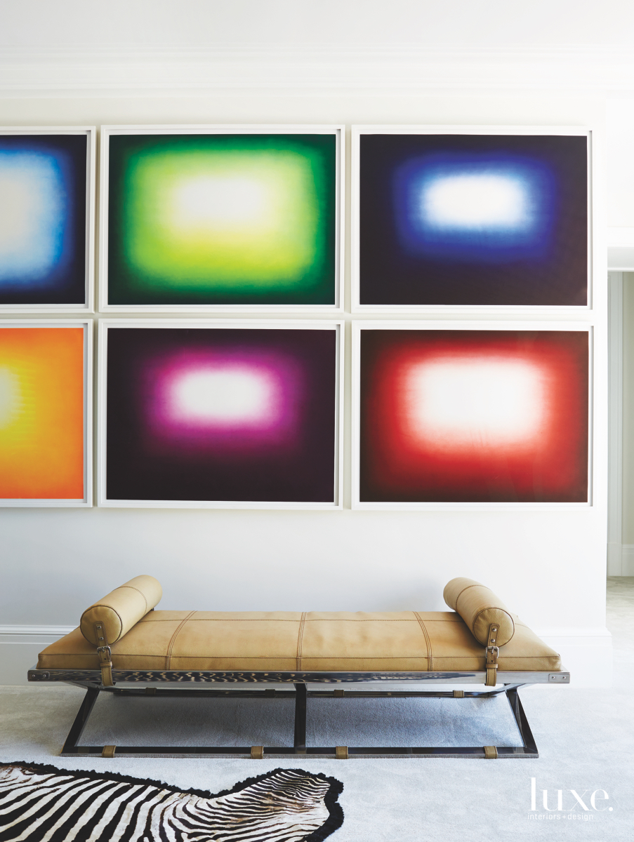 contemporary sitting area colorful artwork...