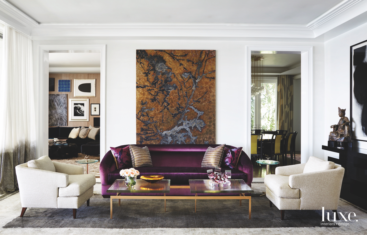 contemporary neutral living room purple...