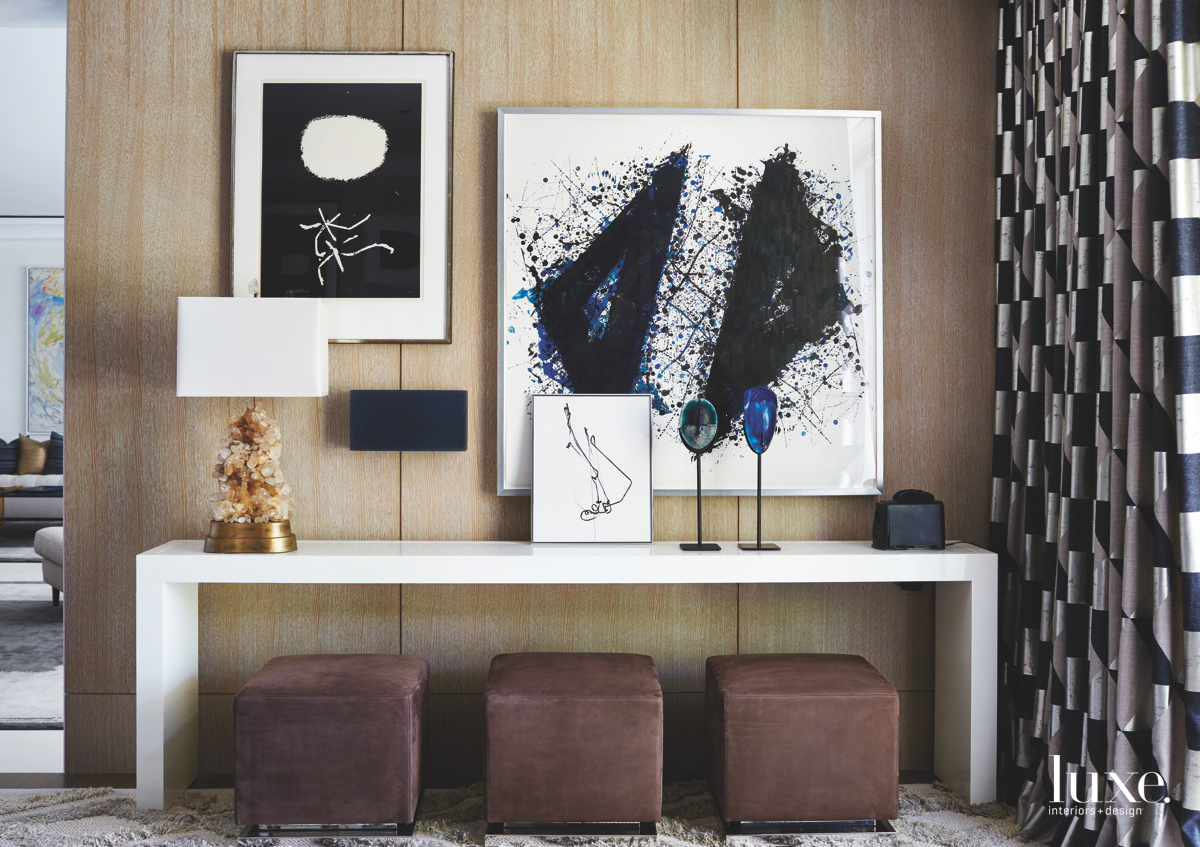 contemporary family room artwork brown...