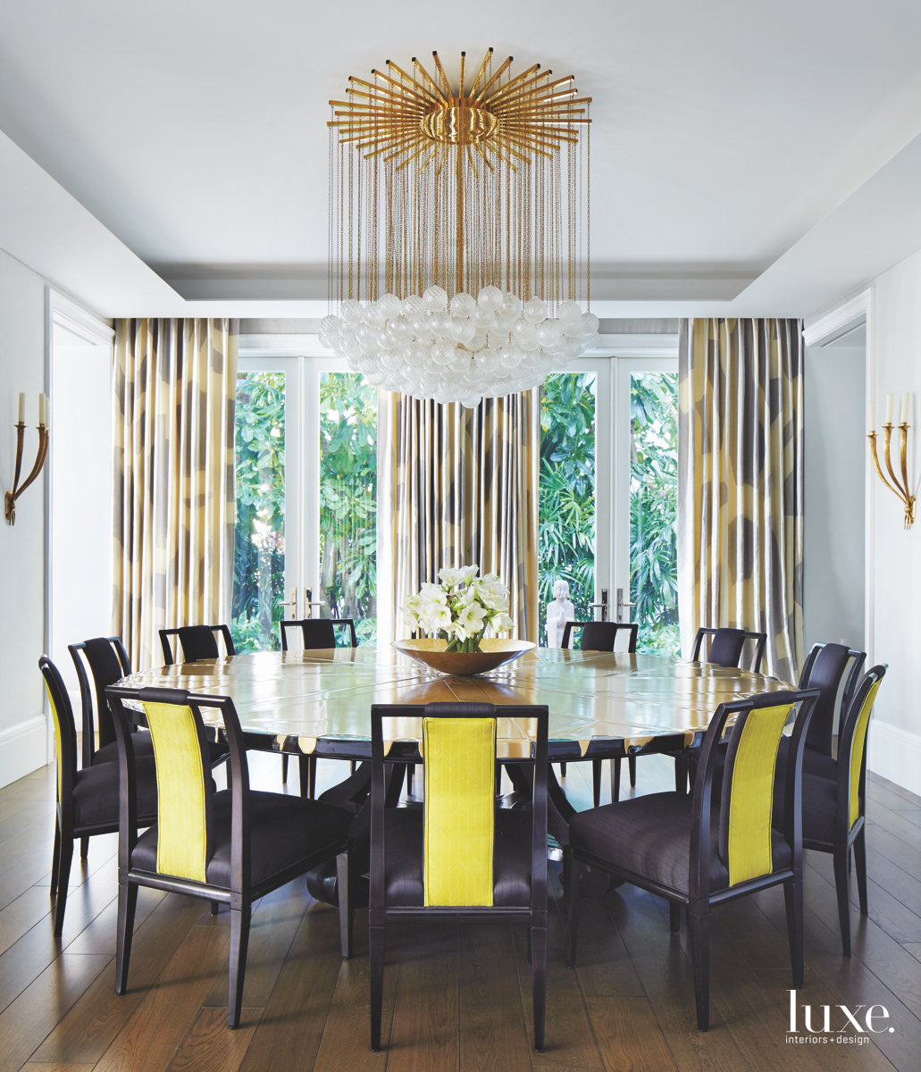 contemporary dining room yellow accents...