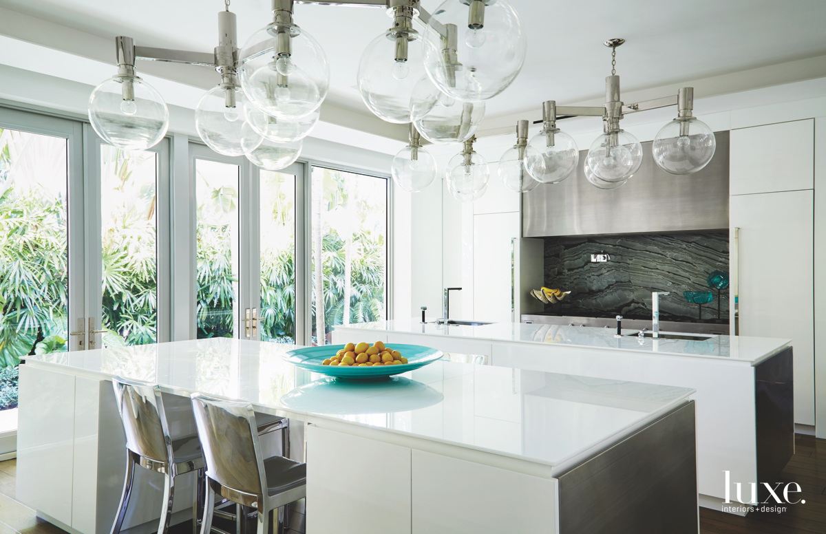 contemporary white kitchen glass spherical...