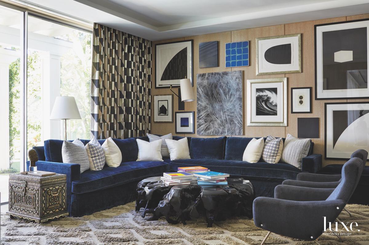 contemporary family room blue velvet...