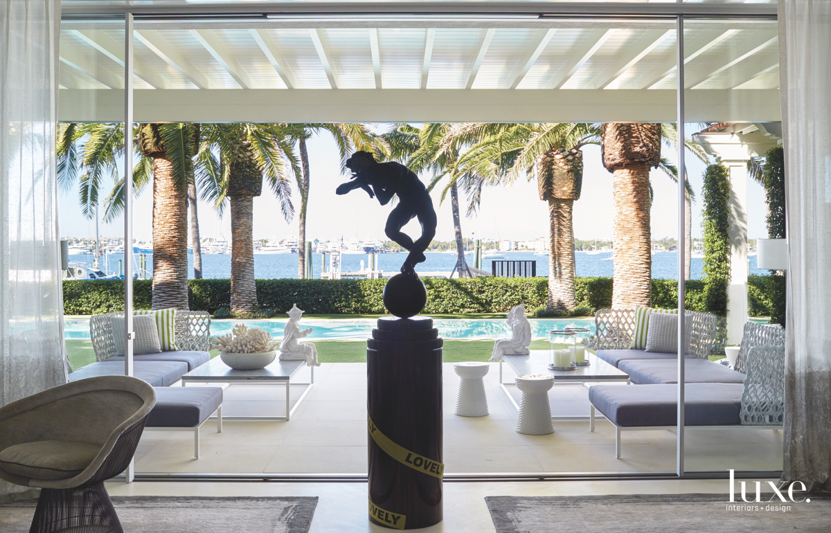 contemporary outdoor sitting area bronze...