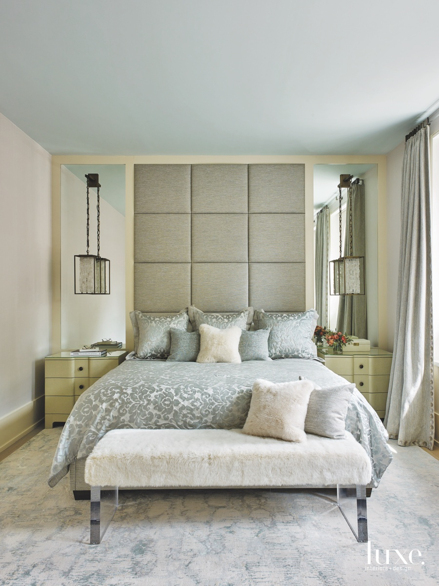 contemporary bedroom antique brass and...