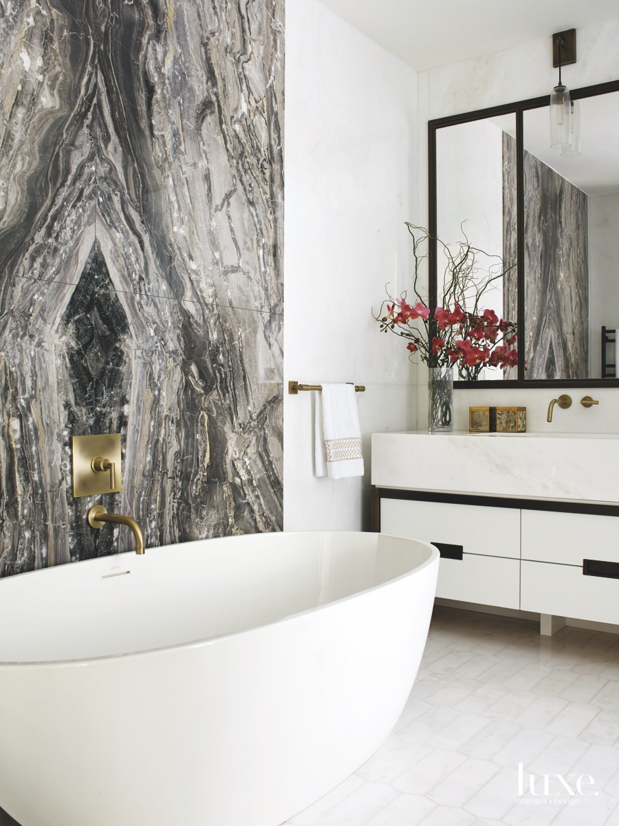 contemporary bathroom freestanding white tub...
