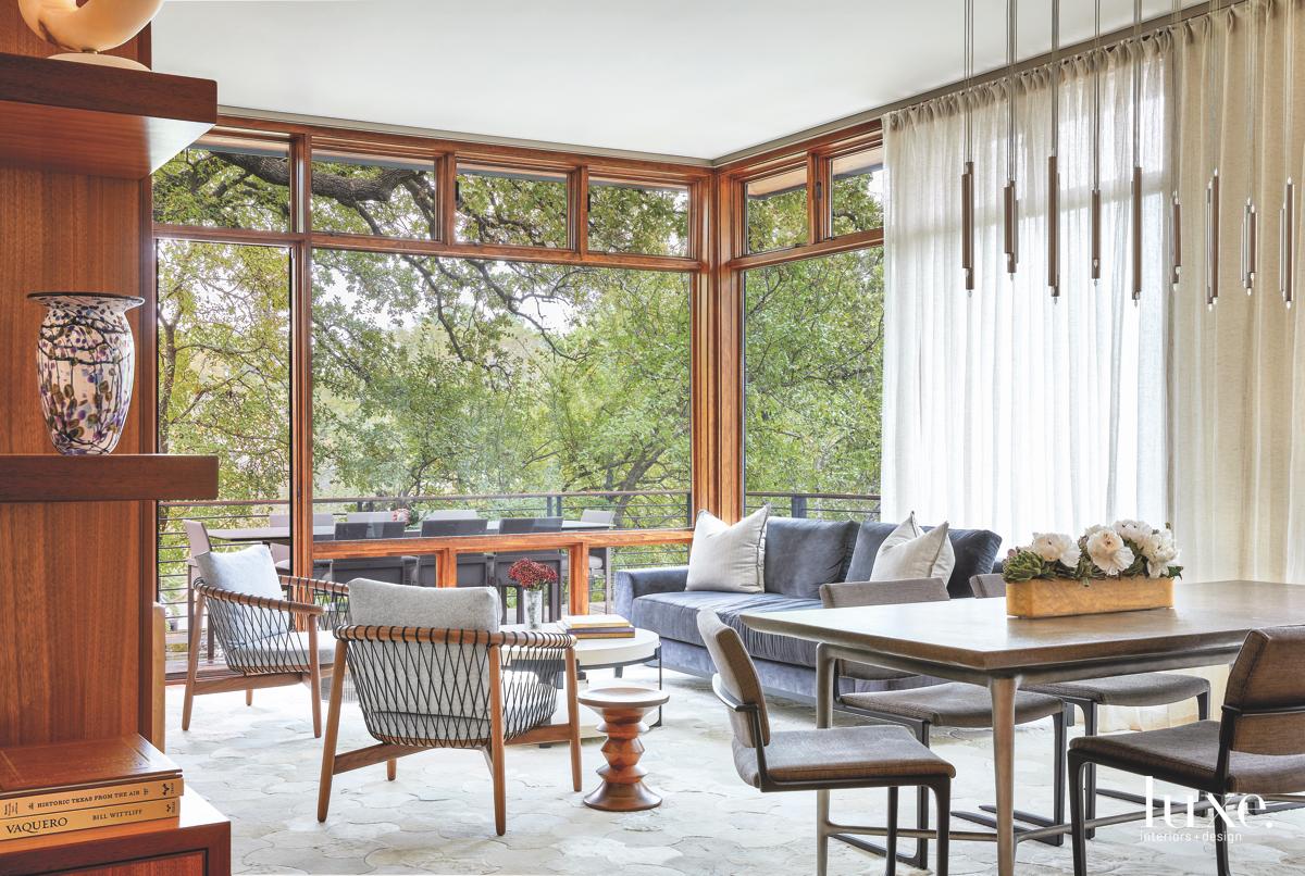 contemporary living room glass windows...