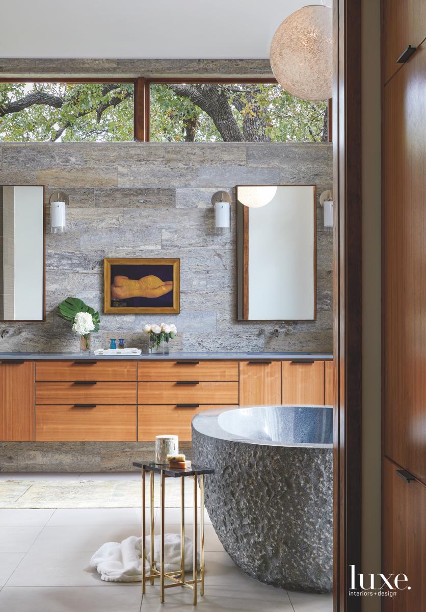 contemporary bathroom neutral sconces sandstone...