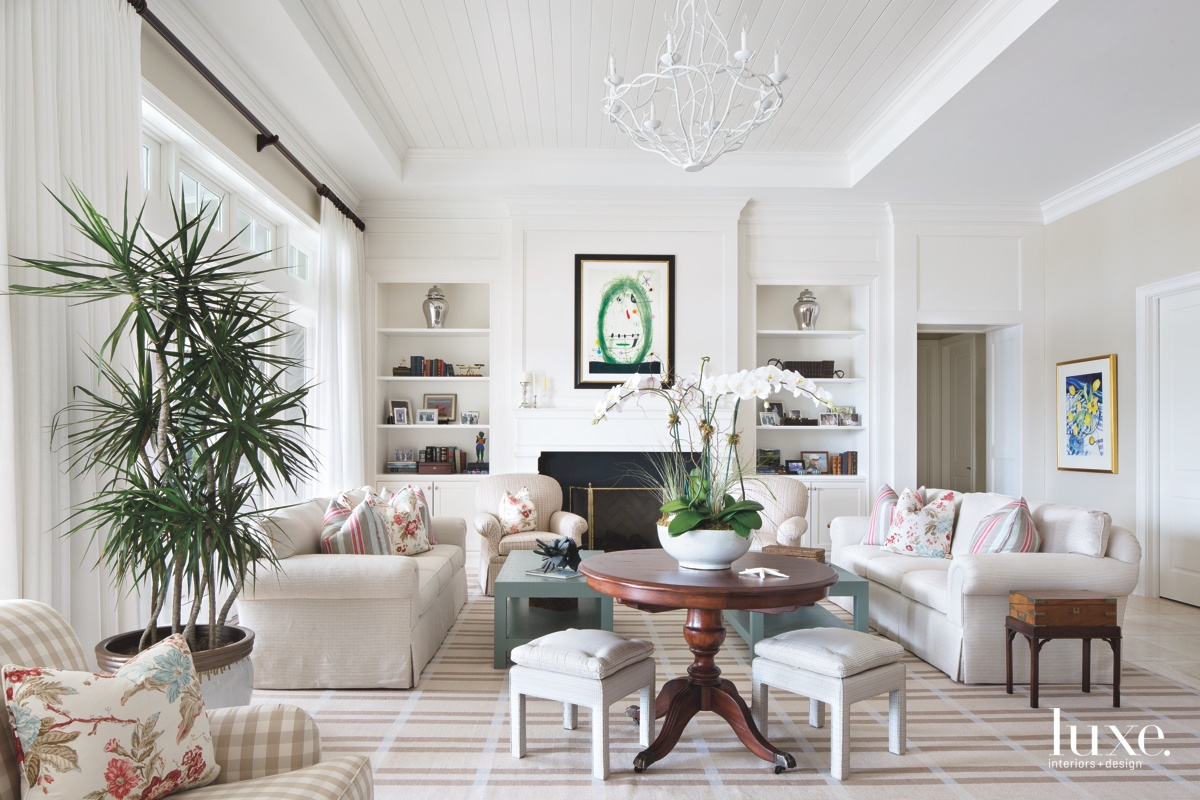 traditional white living room