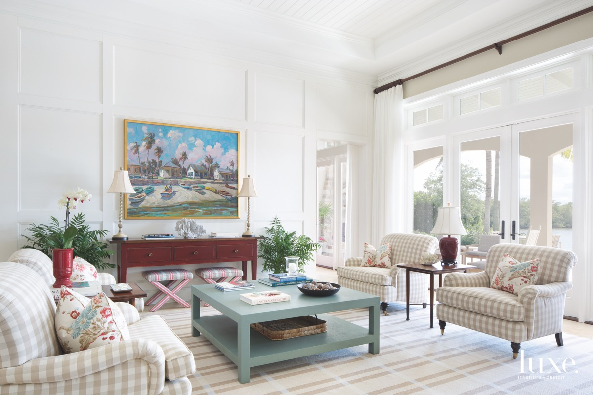 traditional white living room blue...