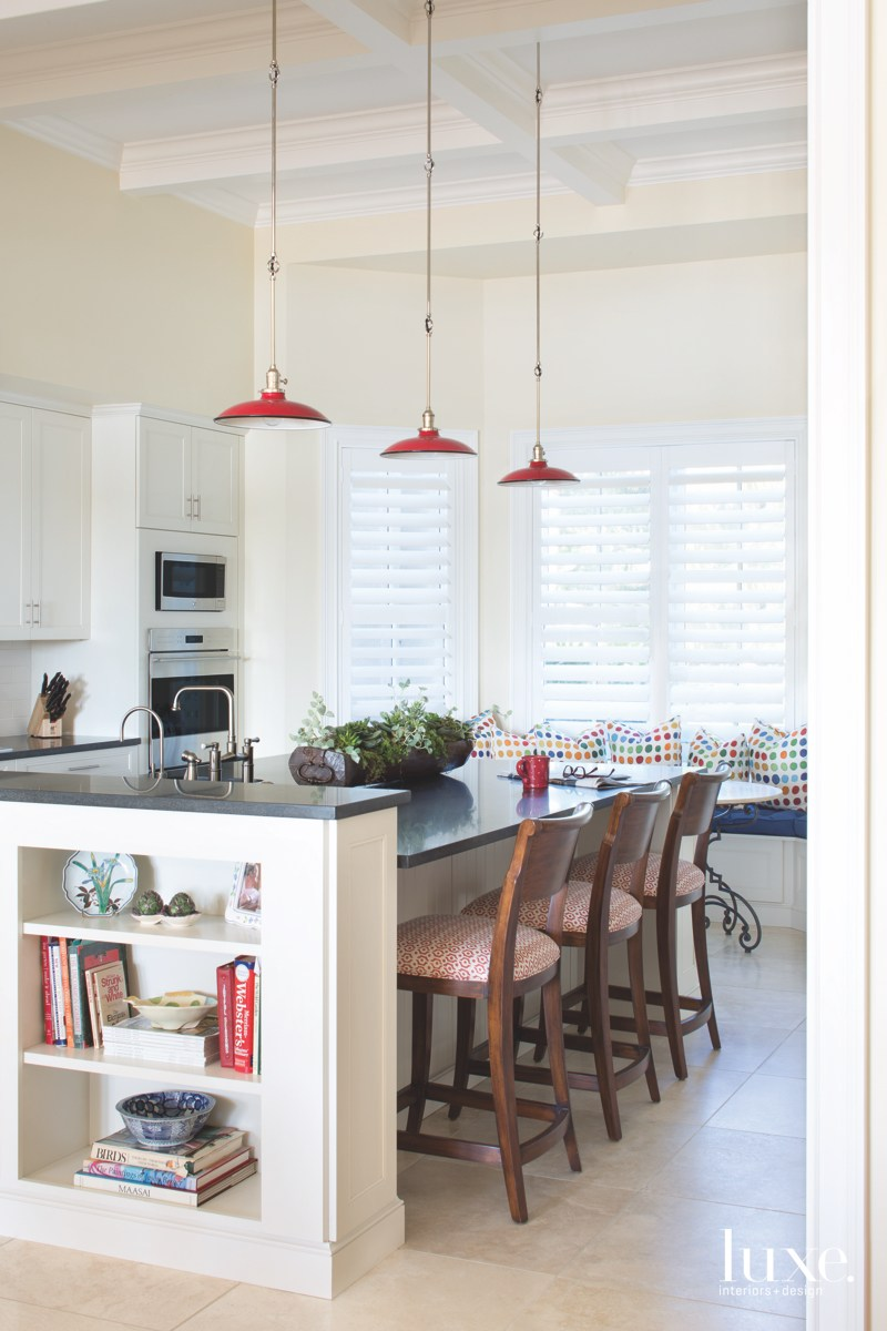 traditional kitchen brown barstools white...