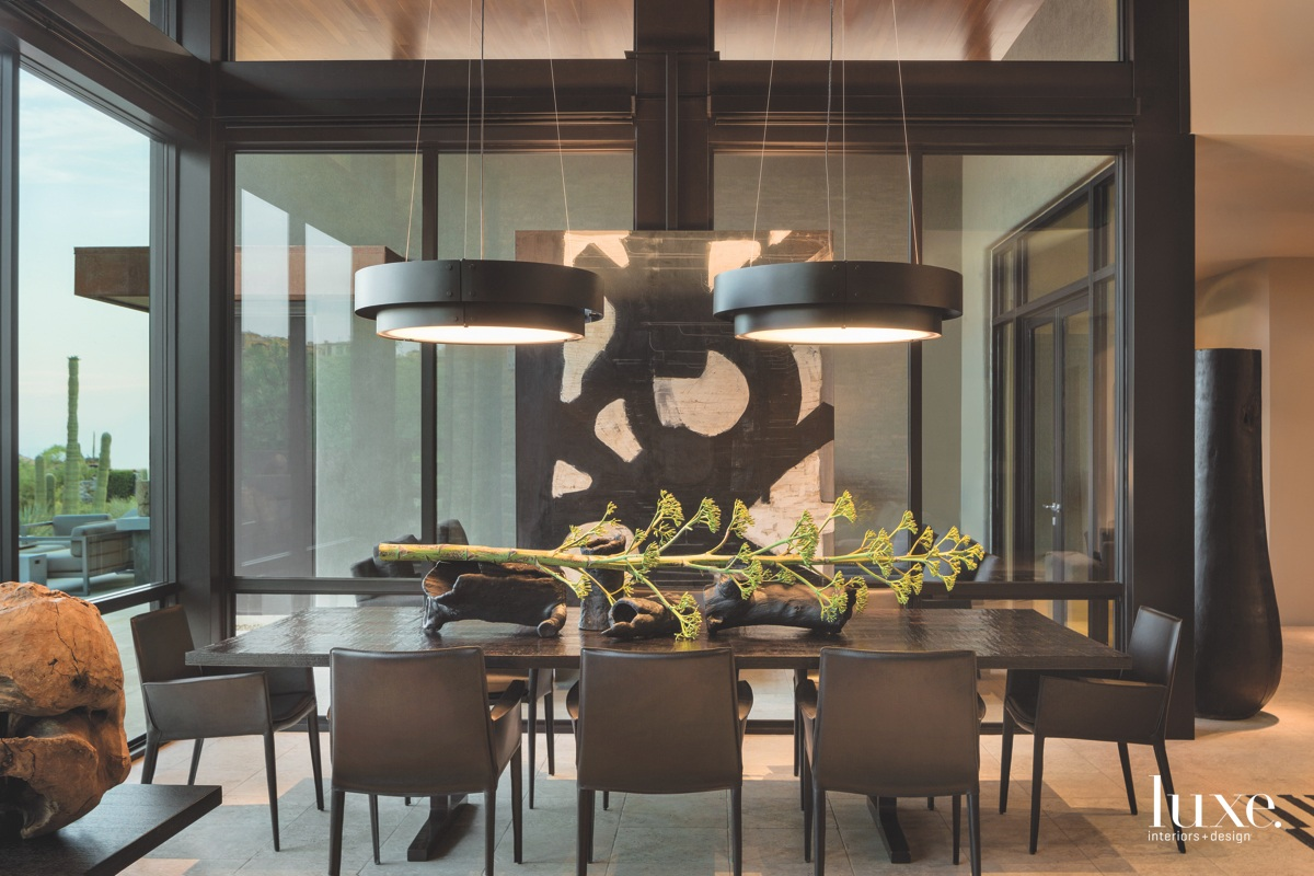modern dining room black leather...