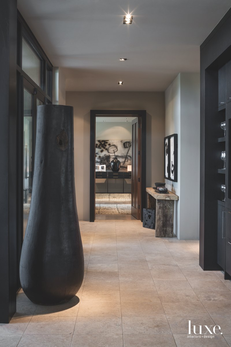 modern hallway black and white...