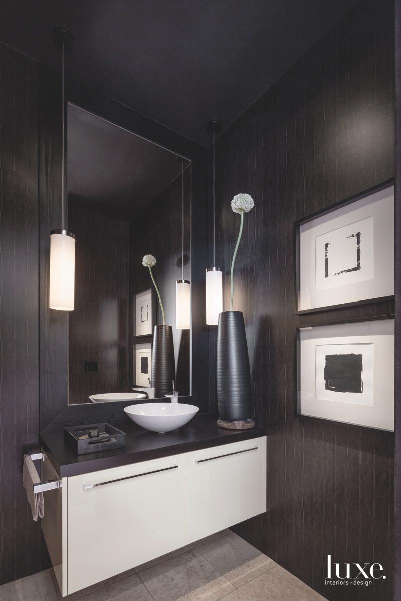 modern bathroom monochromatic black and...