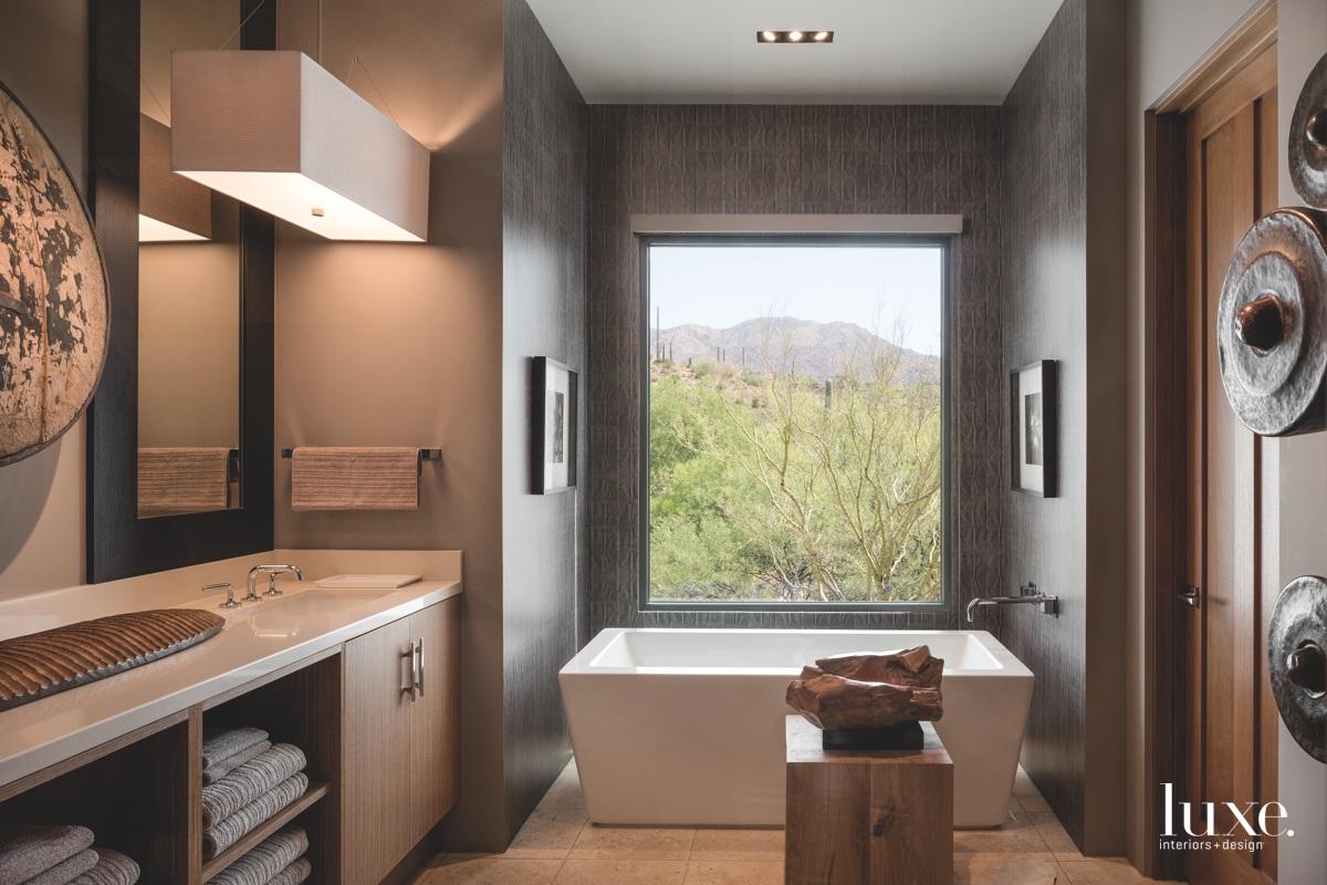 modern bathroom neutral freestanding square...